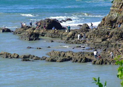 Some fisherman on the rocks close to the Glass house
